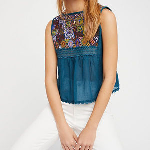 Free People Embroided Detail Peasant Top
